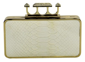 BCBGMAXAZRIA Snake Skin Gold Diamond Ring Unique White Clutch