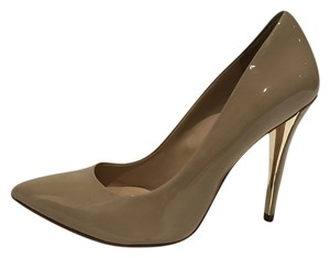 Guess By Marciano Patent Leather Neutral Nude Metallic Patent Nude Pumps