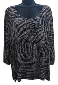 Chico's Slinky Abstract Knit Stretchy Winter Top Beige & Black
