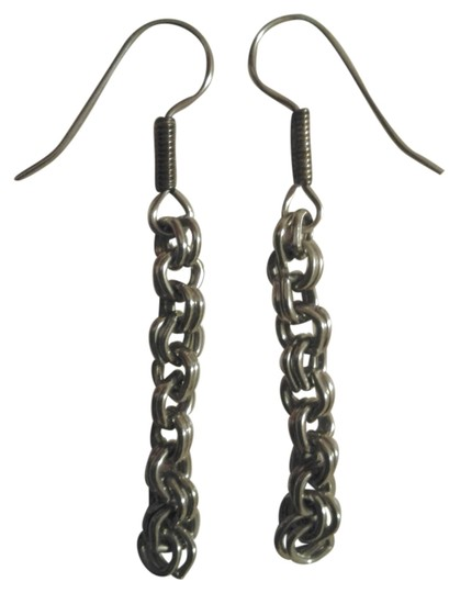 Other NEW Handmade DOUBLE LINK Chain Dangle EARRINGS Vintage Upcycled
