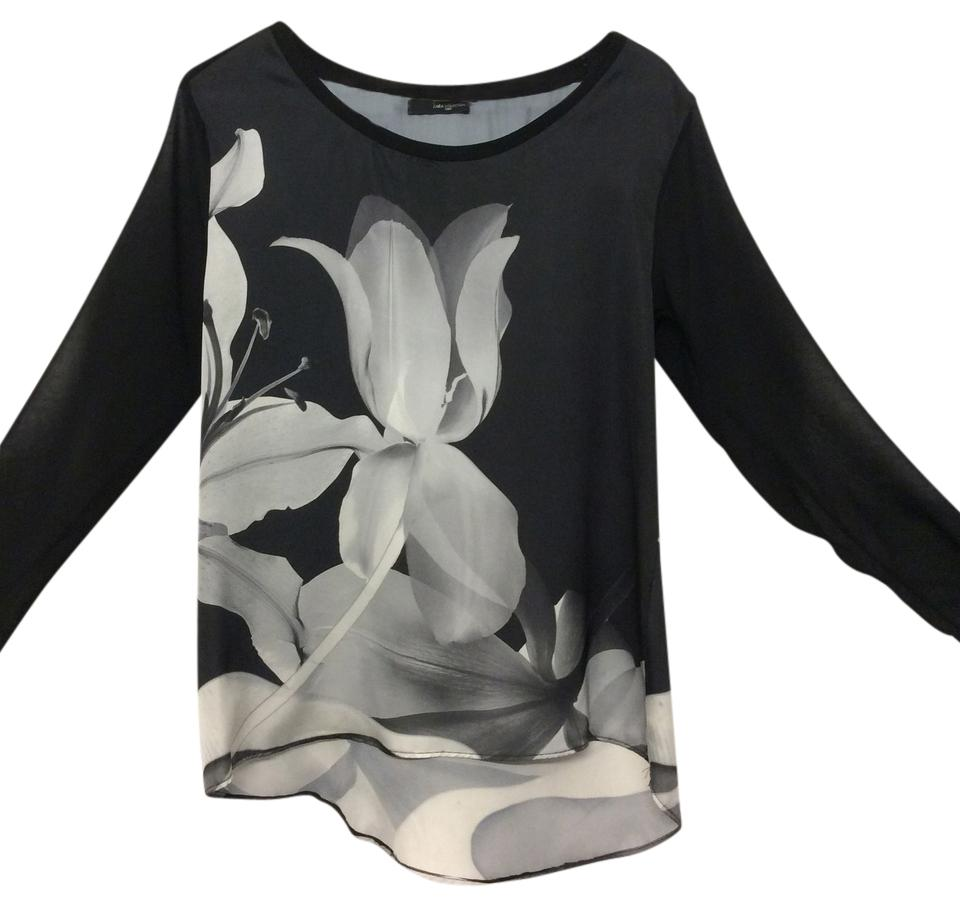 a25c7bf2 Zara Black and White Floral Print with Mesh Long Sleeves Blouse Size ...