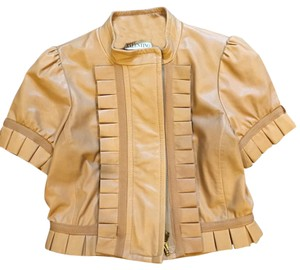 RED Valentino Leather Lambskin Cropped Valentino Ruffle Tan Leather Jacket