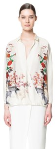 Zara Floral Asian Oriental Wrap Top Ivory
