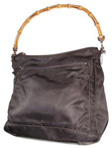 Gucci Size Satchel in brown canvas and leather with a bamboo handle