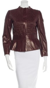 Valentino Peplum Leather Leather Designer Reddish Brown Leather Jacket