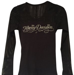 Harley Davidson Top black with white and some silver detail.