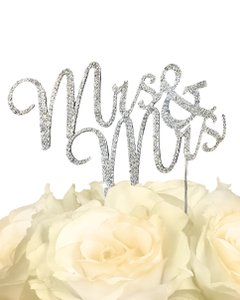 Unik Occasions Silver Crystal Rhinestone Gay Cake Topper - Mrs & Mrs