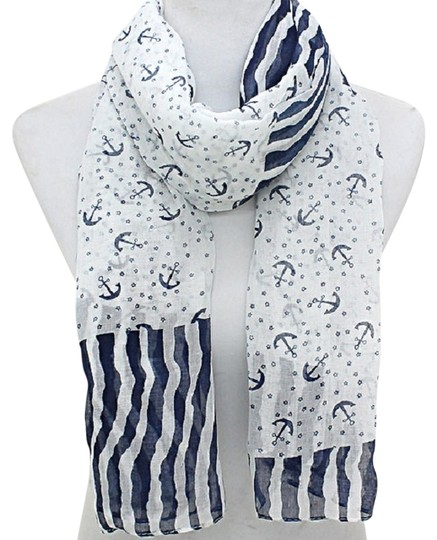Other Nautical By The Sea Anchor Stripe Blue And White Scarf