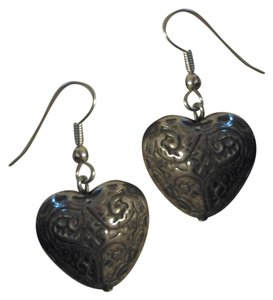 Handmade NEW Handmade SILVER Puff HEART EARRINGS Etched Carved Design Antiqued Buy3Get1FREE!