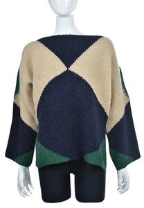 Stella McCartney Womens Blue Tan Crew Neck Wool Alpaca Sweater
