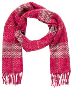 Burberry Pink, ivory Burberry Nova check plaid wool fringe scarf