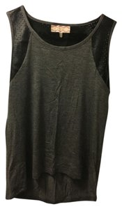 Pink Rose Perforated Faux Leather T Shirt Gray and Black