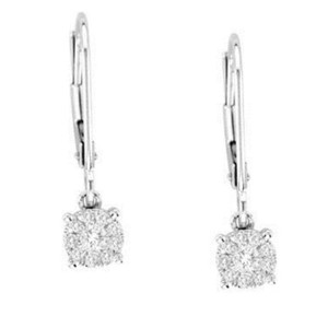 Elizabeth Jewelry 14Kt White Gold Diamond Leverback Earrings
