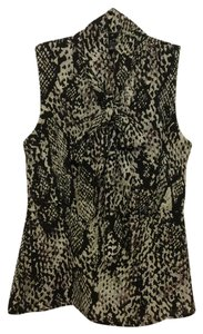 Ann Taylor Work Office Pussy Bow Python Snake Top Multi Black, Taupe and Grey
