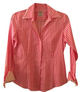 Brooks Brothers Button Down Shirt pink with white stripes