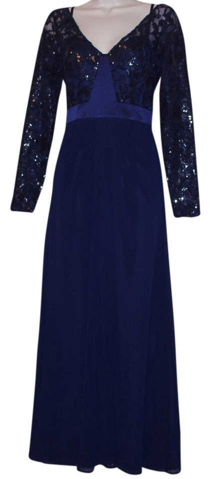 0919bd0d9cb Ralph Lauren Navy Lace Sequined Sleeve Gown Long Formal Dress Size 6 ...