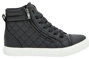 JustFab Fashion Sneaker Stylish Sneaker Sneaker Malone Low Top Malonie Quilted Black Athletic