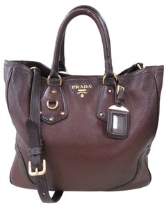 Prada Leather Calfskin Vitello Daino Tote in Brown