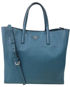 Prada Leather Saffiano Large Cross Body Tote in Blue
