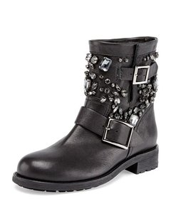 Jimmy Choo Crystalized Crystal Biker Black Boots