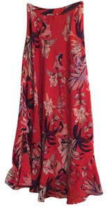 Anthropologie Maxi Skirt Red floral
