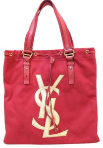 Saint Laurent Ysl Canvas Tote in red