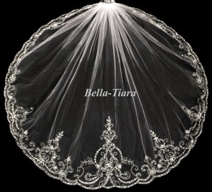 Bella Tiara One Tier Wedding Veil, Beaded Wedding Veil, - Free Shipping
