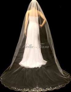 Bella Tiara Cathedral Beaded Crystal Wedding Veil, Cathedral Veil - Free Shipping