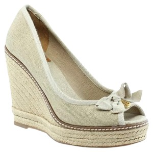 Tory Burch beige and metallic Wedges