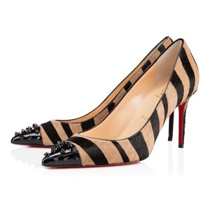 Christian Louboutin Ponyhair Geo Spike Animal Print Pointed Toe Beige, Black Pumps