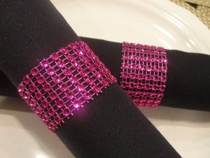 100 Wedding Hot Pink Tone Bling Diamond Mesh Rhinestone Napkin Rings (6 Rows) Quinceanera - Baby Shower- Bridal - Party