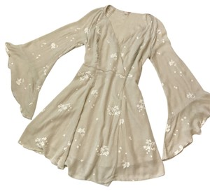 Free People short dress Taupe Rayon Embroidered Boho Flowy on Tradesy