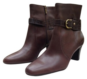 Anne Klein Leather Ankle Women Heeled Brown Boots