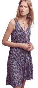 Anthropologie short dress Blue Maeve Westwater Drop Waist Knit Metallic on Tradesy
