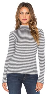 LAmade Ribbed Stretchy Striped Turtleneck Long Sleeve Top Grey