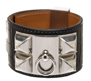 Hermès Hermes Black Alligator CDC Collier de Chien Bracelet (Size S)
