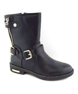 west diva Buckle Flat Rocker Casual Boyfriend black Boots