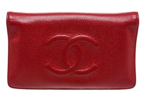 Chanel Chanel Red Caviar Leather CC Bi-fold Long Wallet
