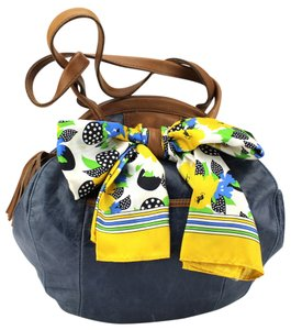 Lucky Penny Satchel in Blue, Brown
