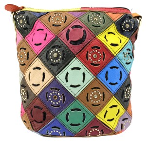 Patchwork Studded Cross Body Bag