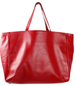 Saint Laurent Leather Tote in Red