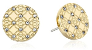 Michael Kors MKJ4276 Michael Kors Women Monogram Stud Earrings Gold Tone With Glitz