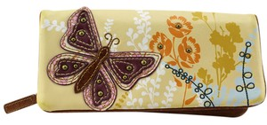 Fossil Wallet Brown Floral Butterfly Distress Leather Purse