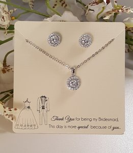 Bridesmaid Platinum Cz Gift Set With Card