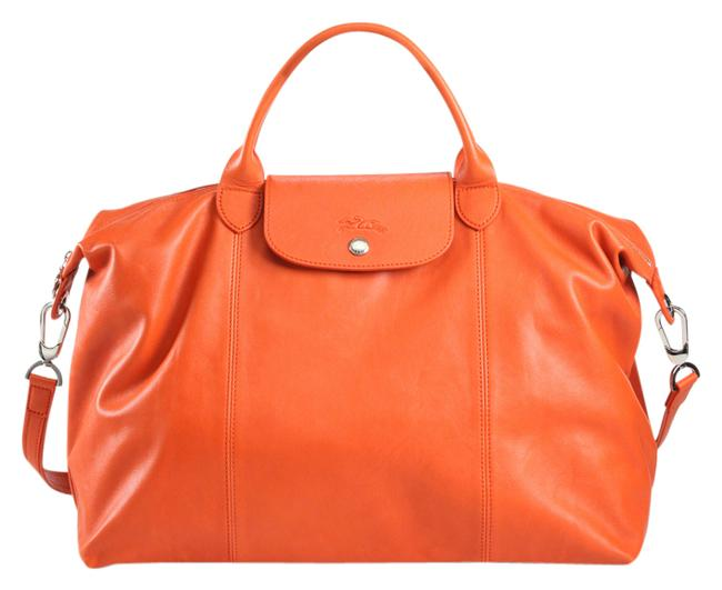 Item - Le Pliage Cuir Orange Leather Satchel
