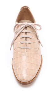 Alexander Wang Ingrid Oxford Leather Crocodile Almond Flats