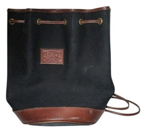 Ralph Lauren Leather Canvas Vintage Bucket Tote in Black