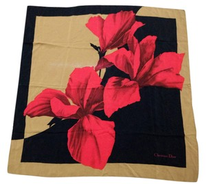 Dior CHRISTIAN DIOR Black and Cerise Red Silk Scarf