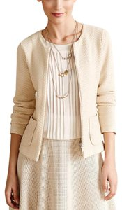 Anthropologie Rosie Neira Chevron Cream Zipper Jacket