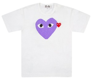 COMME des GARONS Cdg Play Garcon T Shirt white and purple